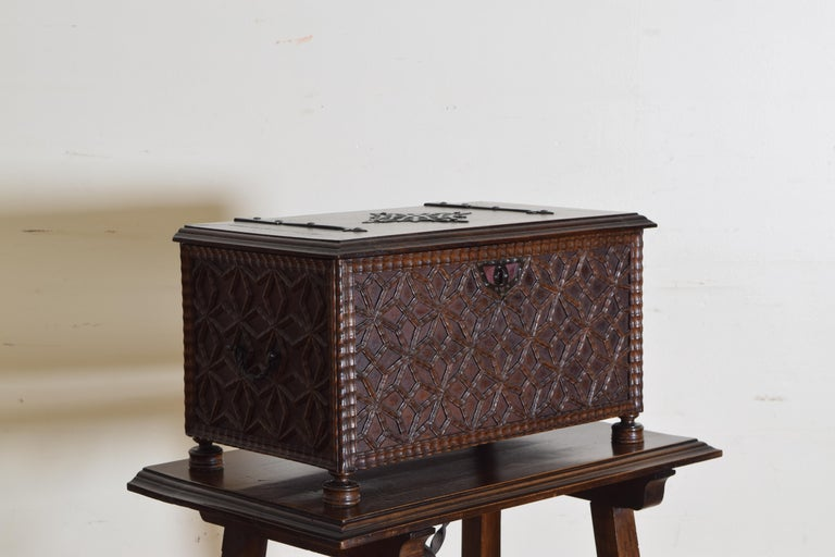 Spanish Baroque Style Carved Walnut Iron Mounted Box on Stand, 20th Century For Sale 2