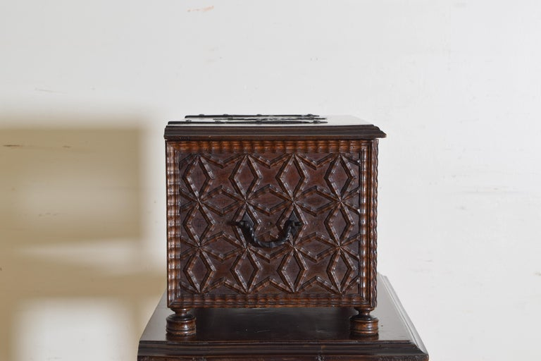 Spanish Baroque Style Carved Walnut Iron Mounted Box on Stand, 20th Century For Sale 3