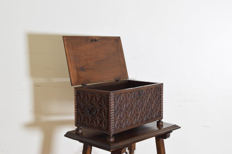 Spanish Baroque Style Carved Walnut Iron Mounted Box on Stand, 20th Century For Sale 4
