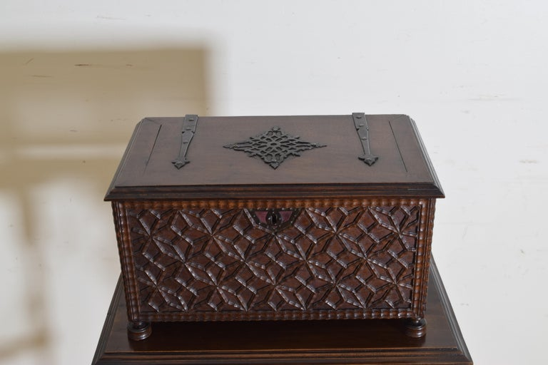 Spanish Baroque Style Carved Walnut Iron Mounted Box on Stand, 20th Century For Sale 5