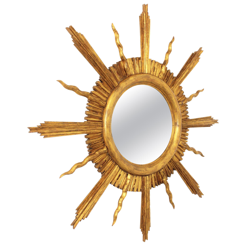 Large Sunburst Giltwood Mirror in Spanish Baroque Style, 1930s