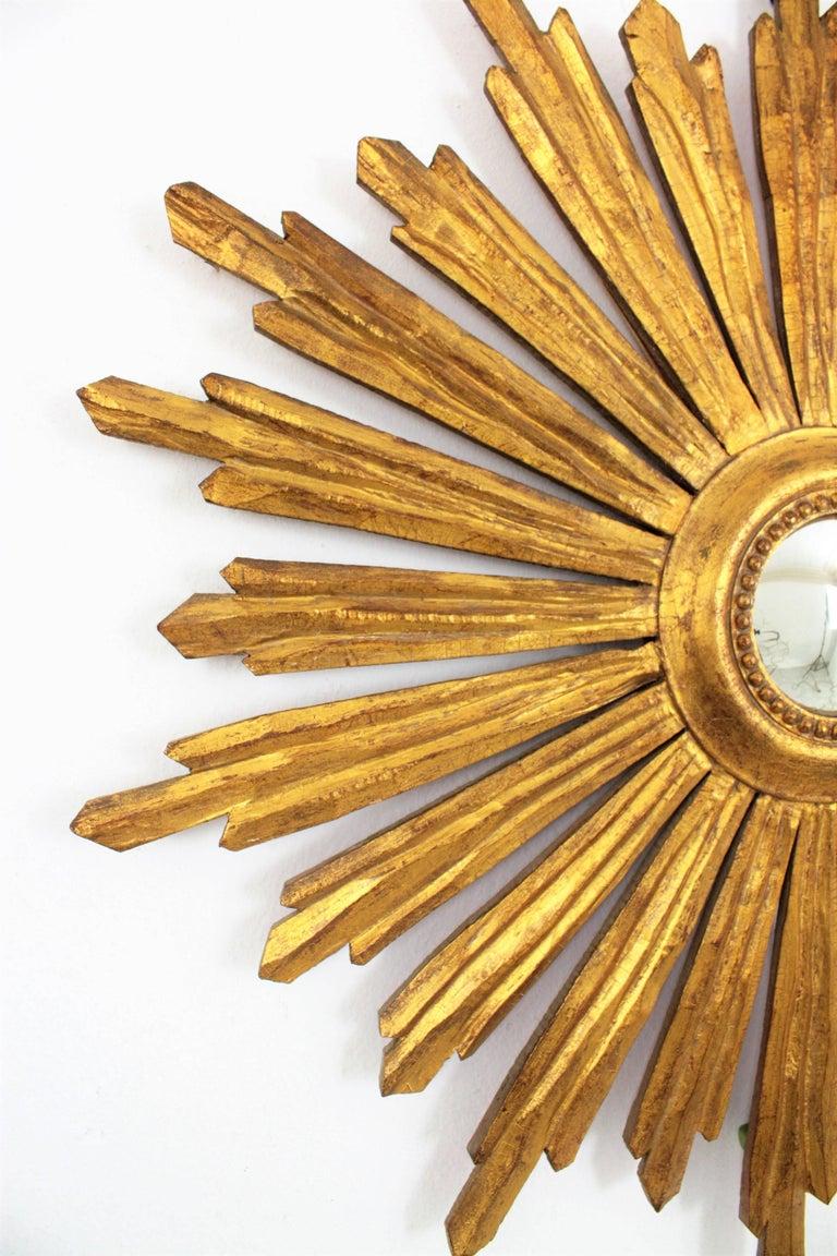 Spanish Baroque Style Gold Leaf Giltwood Sunburst Convex