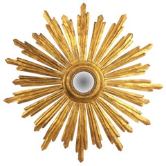 Spanish Baroque Style Gold Leaf Giltwood Sunburst Convex Mirror