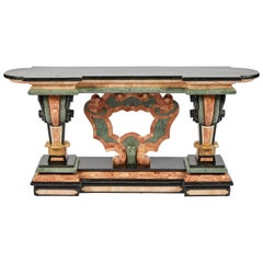 Spanish Baroque Style Marble Console Table with Black Marble Top