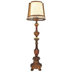 Spanish Baroque Style Polychrome Carved Wood Torchère Floor Lamp with Claw Feet