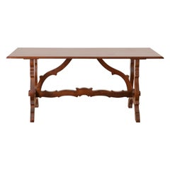 Spanish Baroque Style Trestle Dining Table or Farm Table