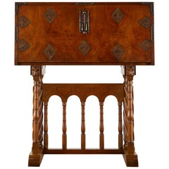 Spanish Baroque Style Vargue?o Cabinet Desk on Stand