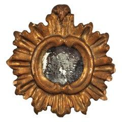 Spanish Baroque Sunburst Mirror Miniature in Gold Leaf Gilded Wood