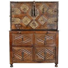 Spanish Baroque Walnut and Wrought Iron Vargueno