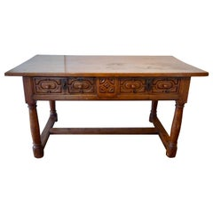 Spanish Baroque Walnut Desk Table, Late 17th Century