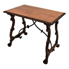 Spanish Walnut Console Table with Iron Stretcher