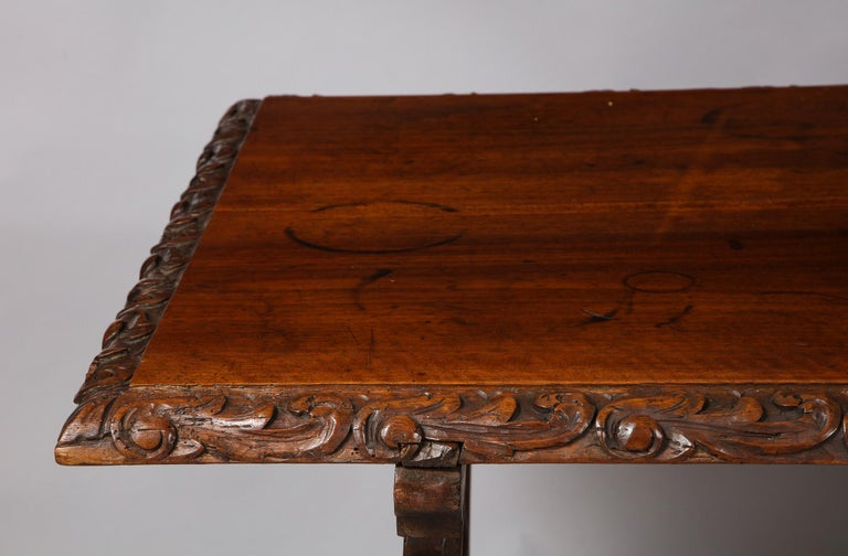 Wrought Iron Spanish Baroque Walnut Table For Sale