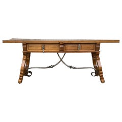 Spanish Bench or Low Console Table with Drawers, Lyre Legs and Iron Stretcher