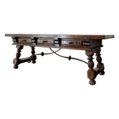 Spanish Bench or Low Console Table with Marquetry Drawers and Iron Stretcher