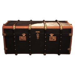 Spanish Black and Brown Canvas Travel Trunk as Coffee Table by Casanovas