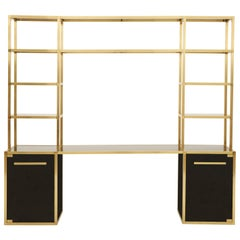 Spanish Black Lacquer and Brass Shelf Desk