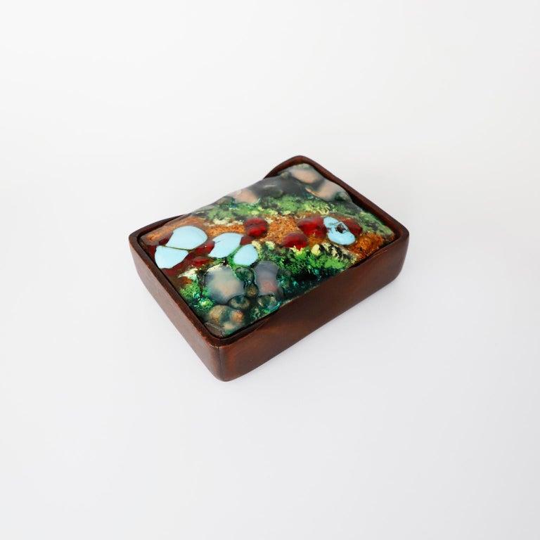 Mid-20th Century Spanish Box with Enamel Copper Decoration by Capo Esmaltes, c. 1960s