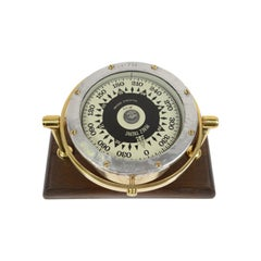 Spanish Brass Compass on Wooden Board, 1940s