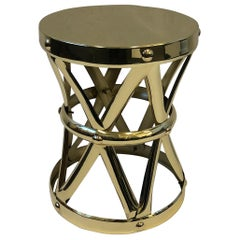 Spanish Brass Drum Occasional Side Table by Sarreid Ltd.