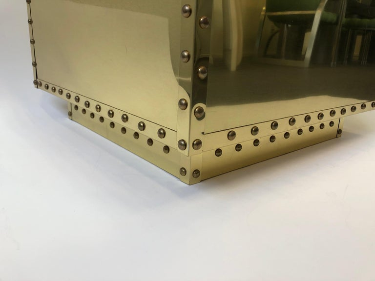 Polished Spanish Brass Side Table by Sarreid For Sale