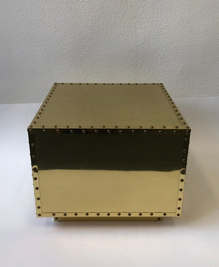 Spanish Brass Side Table by Sarreid In Good Condition For Sale In Palm Springs, CA