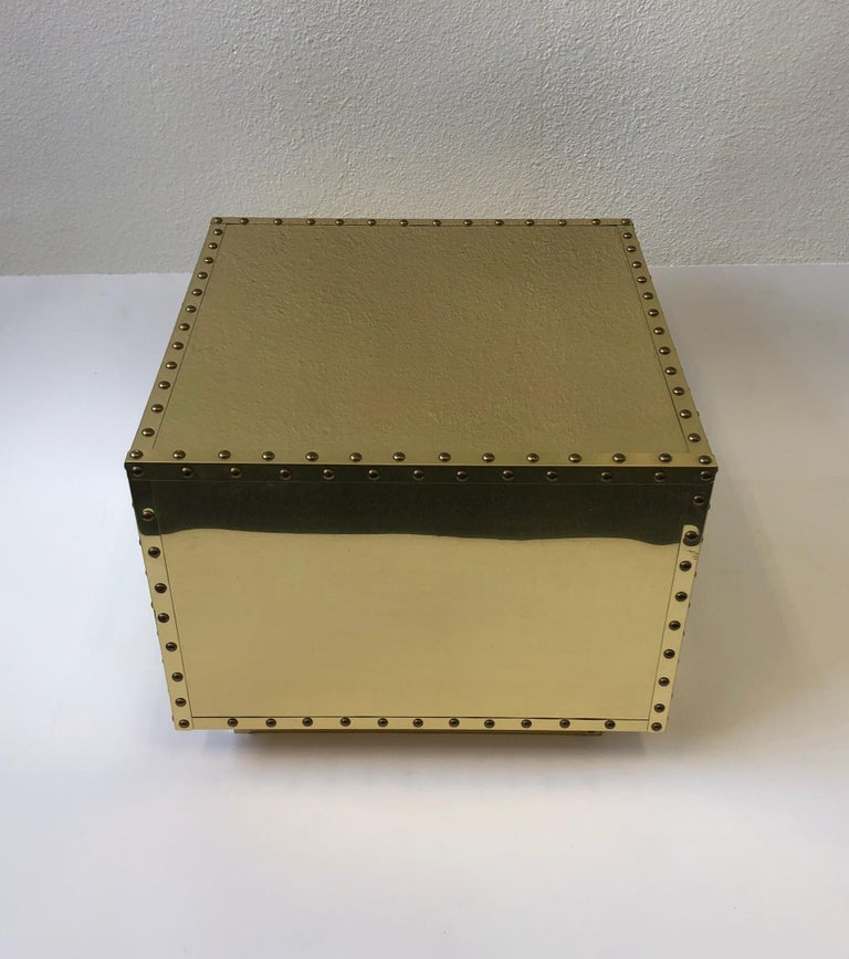 Late 20th Century Spanish Brass Side Table by Sarreid For Sale