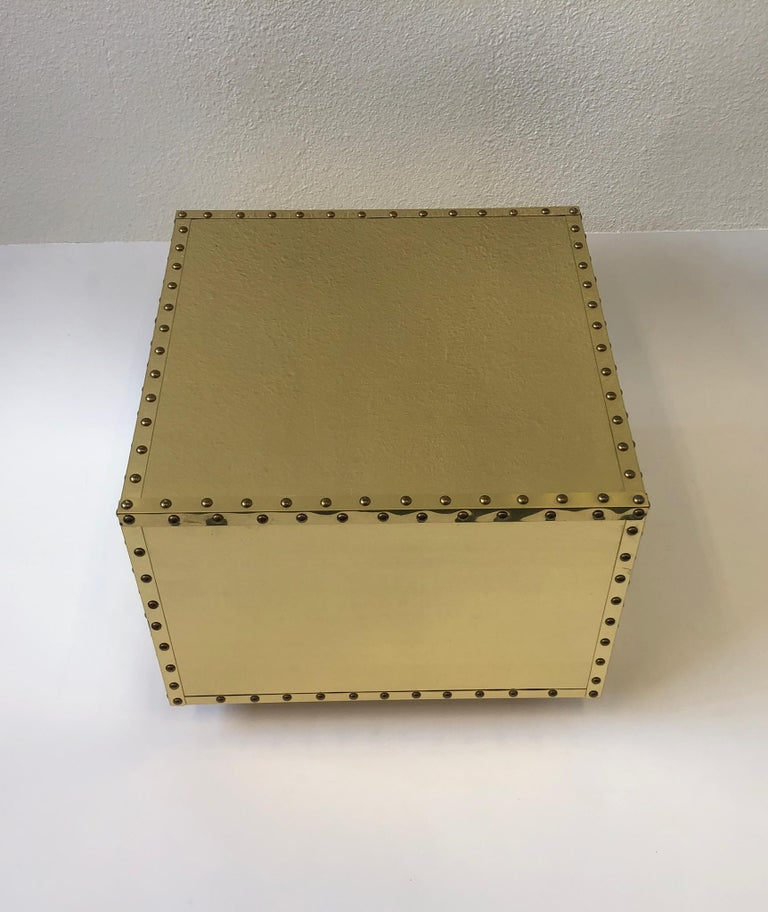 Spanish Brass Side Table by Sarreid For Sale 1