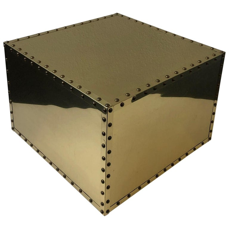Spanish Brass Side Table by Sarreid For Sale