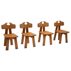 Spanish Brutalist Chairs in Solid Oak