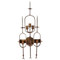 Spanish Brutalist Gothic Revival Wall Sconce in Handwrought Gilt Iron