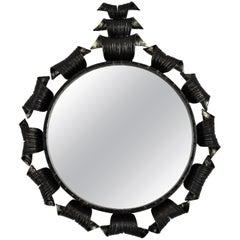 Spanish Brutalist Hand Forged Iron Sunburst Mirror with Crest