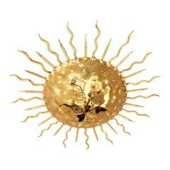 Spanish Brutalist Sunburst Flush Mount in Wrought Gilt Iron with Flower Detail