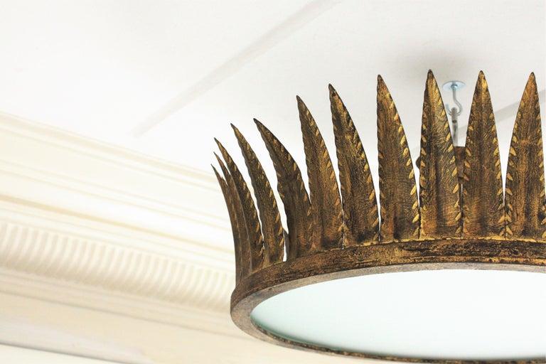 Spanish Brutalist Wrought Gilt Iron Large Crown Light Fixture / Chandelier For Sale 4