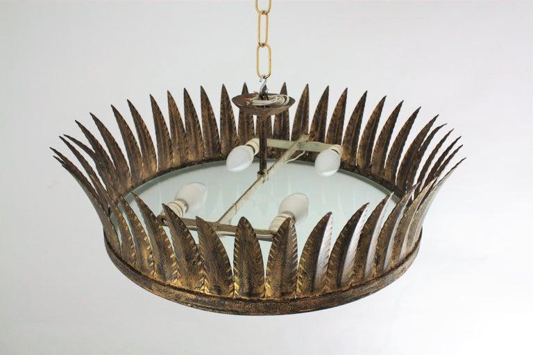 Spanish Brutalist Wrought Gilt Iron Large Crown Light Fixture / Chandelier For Sale 5