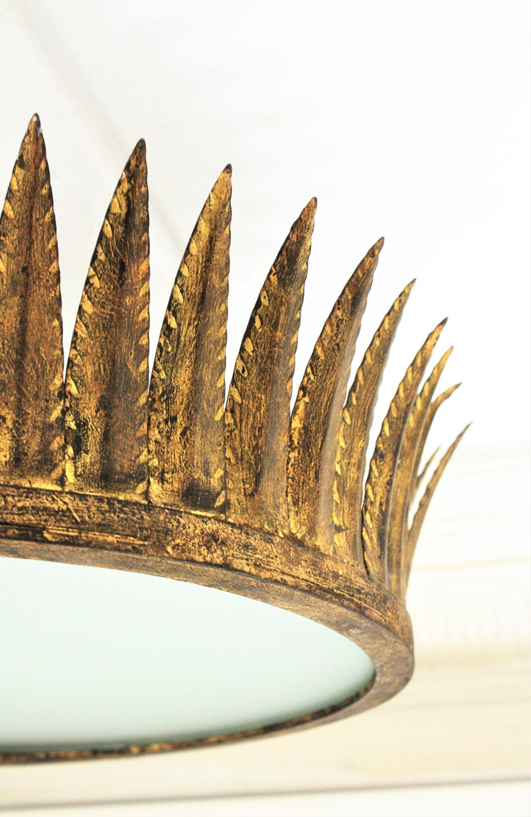Spanish Brutalist Wrought Gilt Iron Large Crown Light Fixture / Chandelier For Sale 1