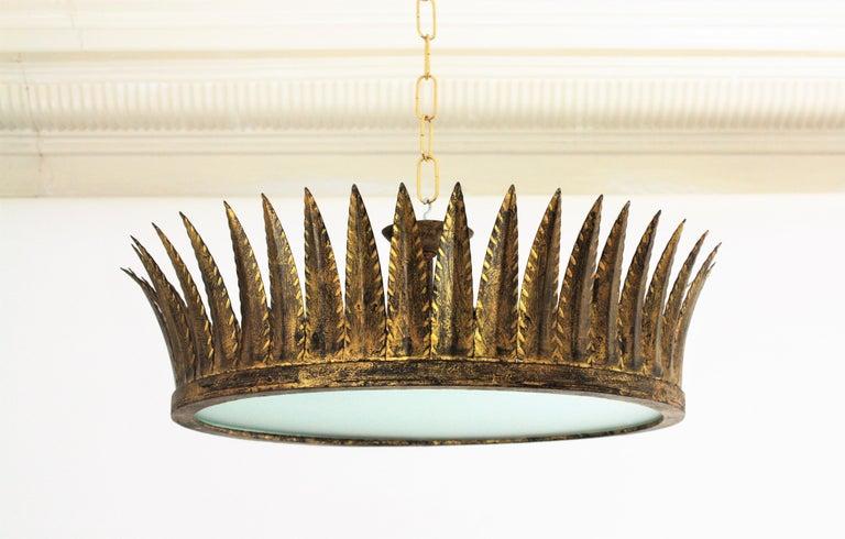 Spanish Brutalist Wrought Gilt Iron Large Crown Light Fixture / Chandelier For Sale 2