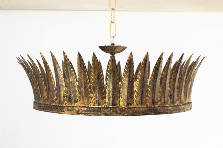Spanish Brutalist Wrought Gilt Iron Large Crown Light Fixture / Chandelier For Sale 3