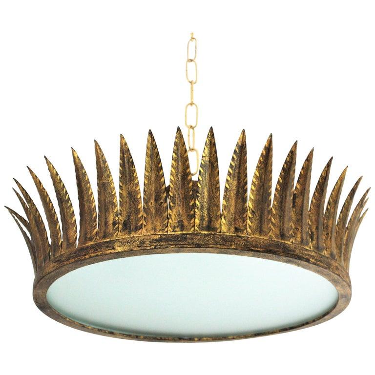 Spanish Brutalist Wrought Gilt Iron Large Crown Light Fixture / Chandelier For Sale