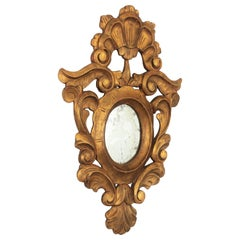 Spanish Carved Giltwood Mirror, Rococo Style
