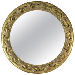 Spanish Carved Giltwood Round Shaped Mirror