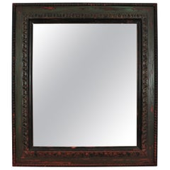 Spanish Carved Mirror with Green Patina