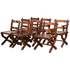 Spanish Carved Oak and Leather Dining Chairs, Set of 6 Side Chairs 2 Armchairs