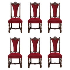Spanish Carved Walnut Set of Six Chairs with Red Velvet Seat and Back