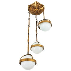 Spanish Cascade Chandelier / Pendant in Gilt Wrought Iron with Glass Globes