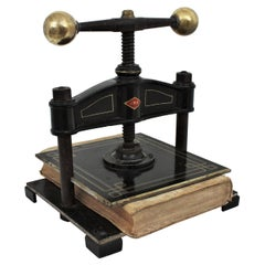 Spanish Cast Iron and Brass Paper Book Press, Early 20th Century