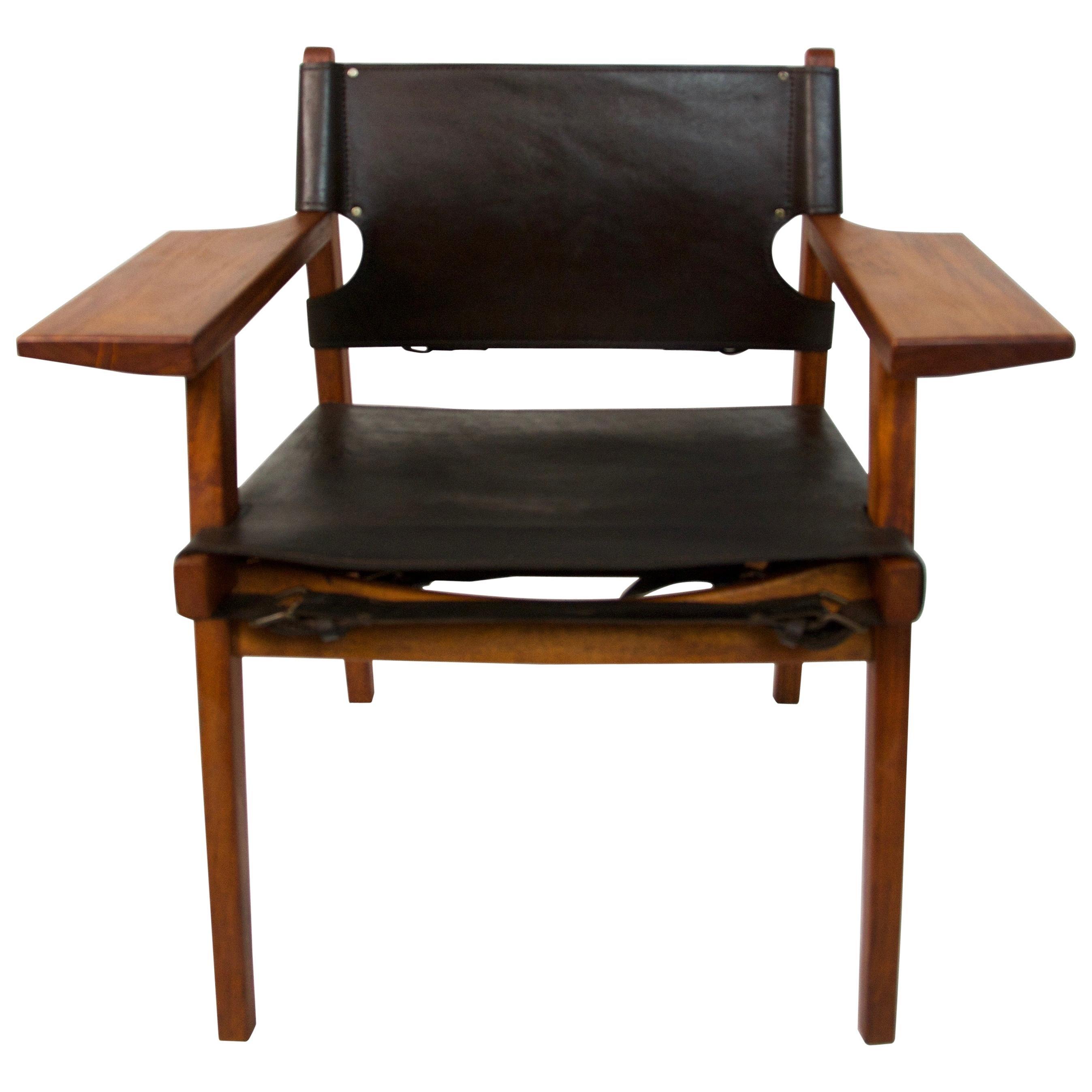 Spanish Chair Borge Mogensen Style Teak and Leather, circa 1960