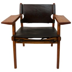 Spanish Chair Borge Mogensen Style Teak and Leather, circa 1960