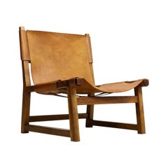 Spanish Chair by Paco Munoz in Walnut and Leather, 1960s Midcentury Design