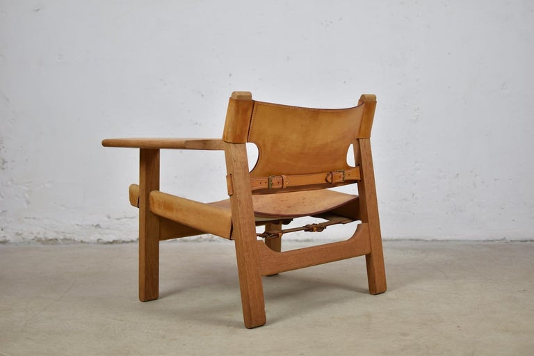 Leather 'Spanish' Chairs by Børge Mogensen for Fredericia, Denmark, 1950s For Sale