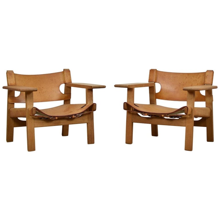 'Spanish' Chairs by Børge Mogensen for Fredericia, Denmark, 1950s For Sale